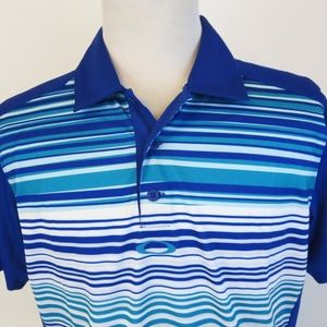 Oakley Hydrolix Large Polo Shirt Striped Mesh Blue